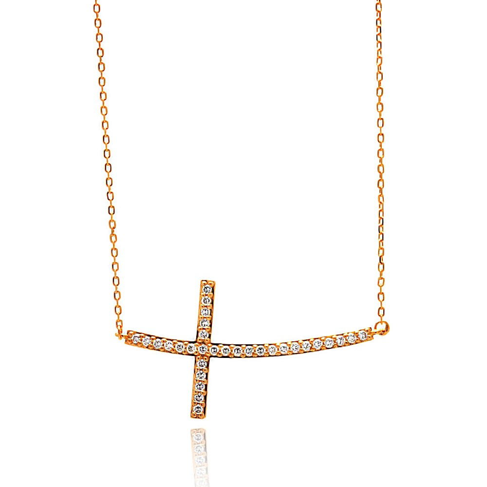 Side Way cross Necklace in Sterling Silver Rose Gold Plated